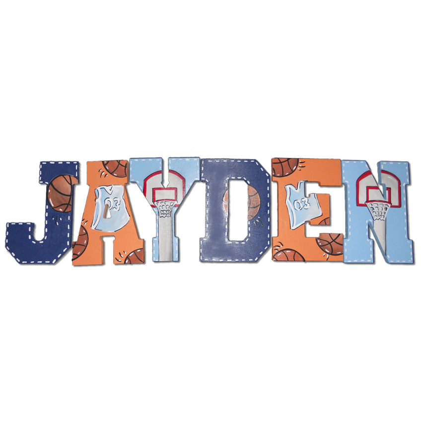 Basketball Theme Hand Painted Wall Letters Thumbnail 1