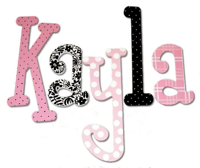 Pink and black dotty damask hand painted wall letters for Black wall letters
