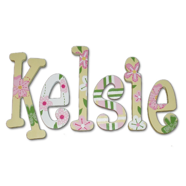 soft yellow garden hand painted wall letters