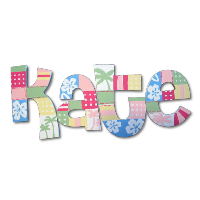 hawaiian patchwork hand painted wall letters