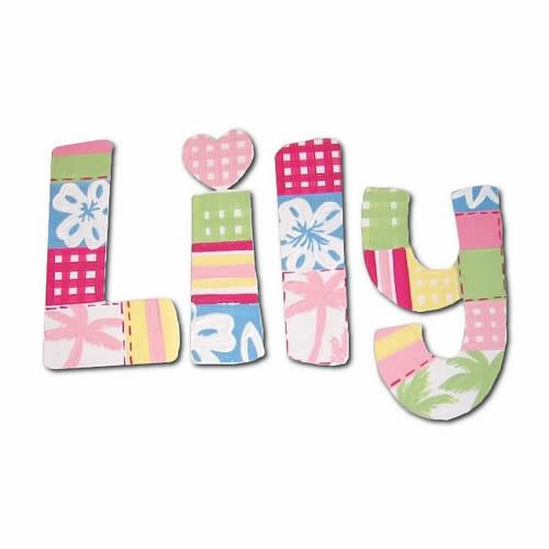 Hawaiian Patchwork Hand Painted Wall Letters Thumbnail 1