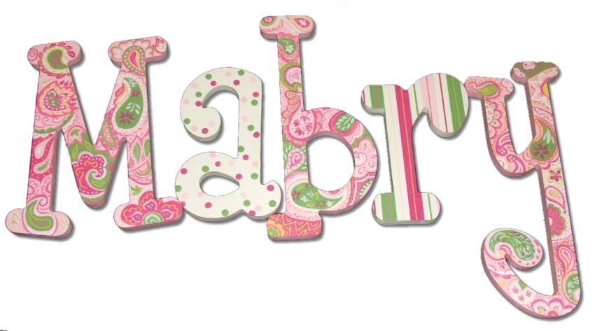 Pink & Green Paisley Dot Wall Letters