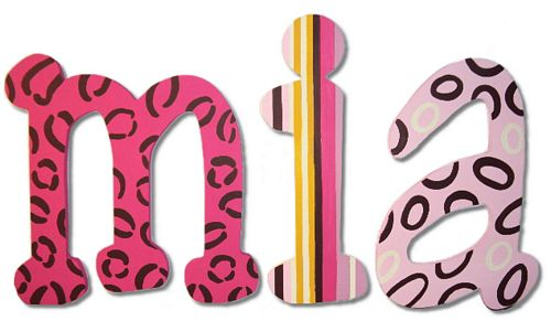 Tahiti Wall Letters With Hot Pink Amp Black