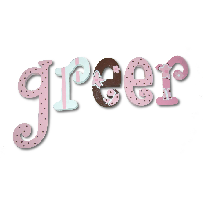 Pink and Chocolate Dot Custom Painted Wall Letters Thumbnail 1