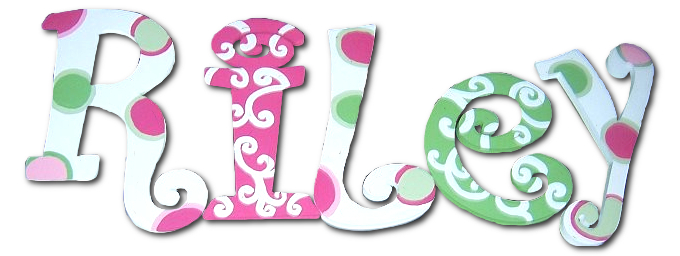Pink/Green Scrolls and Dots Hand Painted Wall Letters Thumbnail 1