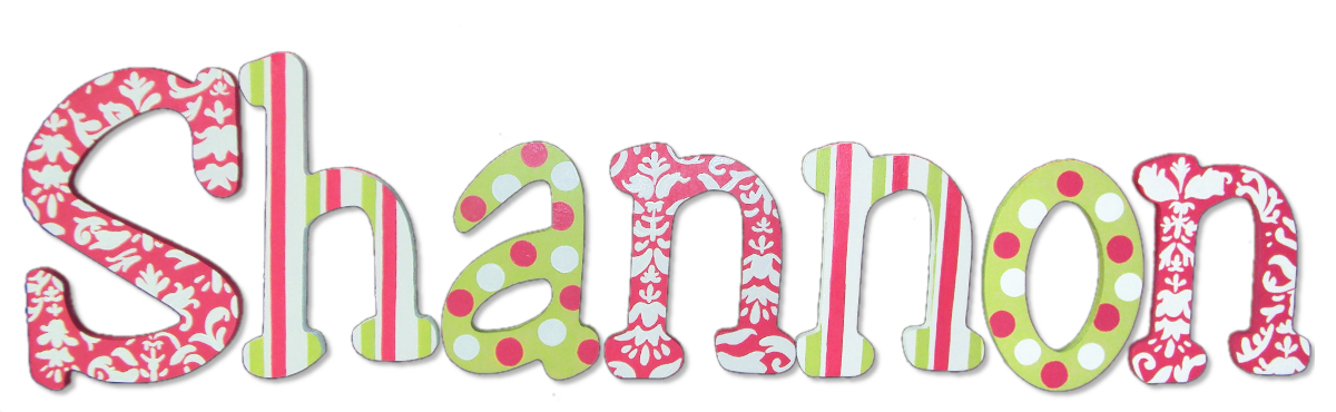 Custom Wood Letters With Pink Damask Amp Green