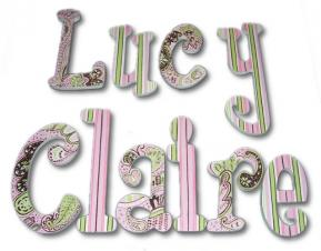 Pink, Green, and Brown Paisley Painted Letters