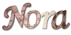 Pink Rose and Brown Hand Painted Wood Wall Letters