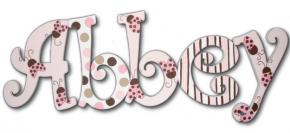 Pink Lady Bug Hand Painted Wall Letters Thumbnail