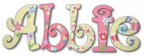 Pink and Yellow Butterfly Garden Hand Painted Wood Wall Letters