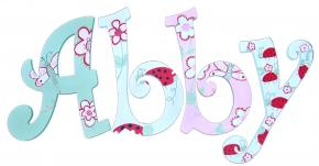 Pink and Green Butterfly Garden Hand Painted Wood Wall Letters