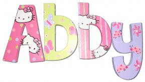 Hello Kitty Painted Wall Letters