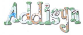 Addisyn's Baby Jungle Animals Hand Painted Wood Wall Letters