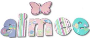 Aimee's Butterfly Garden Hand Painted Wood Wall Letters with Hanger