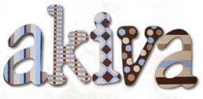 Akiva's Blue and Brown Hand Painted Wood Wall Letters