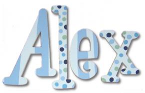 Alex's Blue and Green Babylicious Hand Painted Wood Wall Letters