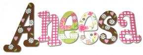 Confetti Flower Hanging Wood Letters