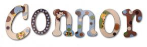 Connor's Dotty Jungle Animals Hand Painted Wall Letters