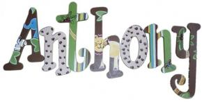 Anthony's Jungle Print Hand Painted Wall Letters Thumbnail