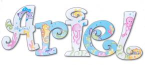 Ariel's Under the Sea Hand Painted Wall Letters