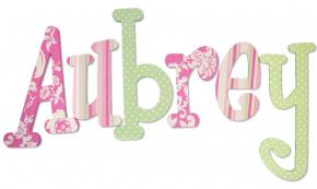 Pink and Green Custom Designed Wood Letters