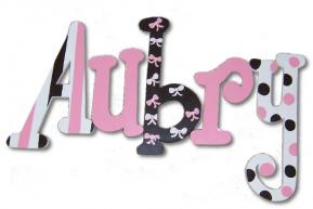 Aubry's Pink and Black Hand Painted Wall Letters