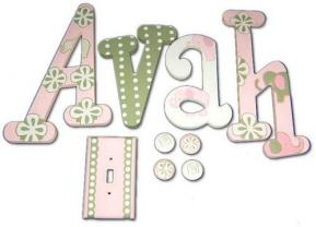 Girly Elephant Handpainted Wall Letters