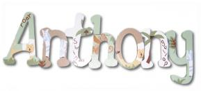 Anthony's Green and Brown Jungle Animal Wall Letters