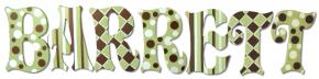 Green and Brown Handpainted Name Letters