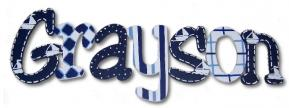 Grayson's Blue Boats Hanging Wooden Letters Thumbnail