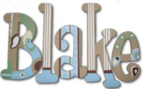 Blake's Blue, Brown and Green Modern Hanging Wooden Letters
