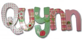 Quynn's Flower Blossoms Hanging Wooden Letters
