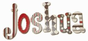 Joshua's Red and Brown Hanging Wooden Letters