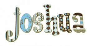 Joshua's Blue and Brown Hanging Wooden Letters