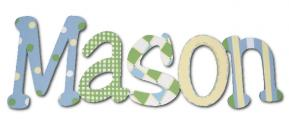 Mason's Blue and Green Hanging Wooden Letters