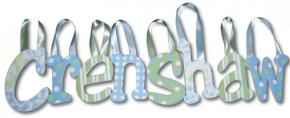 Crenshaw's Blue and Green Hanging Wooden Letters