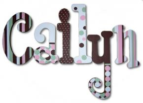 Cailyn's Pink, Green and Brown Polka Dot Hanging Wooden Letters