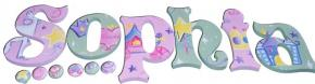 Princess Sophia's Pink and Green Hanging Wooden Letters