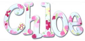Hot Pink Blossoms on White Kids' Wall Letters