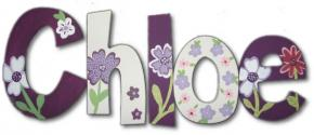 Purple Pansies Kids' Wall Letters