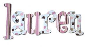Pink Chocolate Dots Kids' Wall Letters