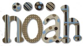 Noah's Blue and Brown Kids' Wall Letters