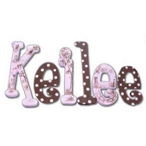 Pink & Brown Toile Kids' Wall Letters Thumbnail
