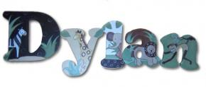 Cocoa Jungle Animals Hand Painted Wall Letters
