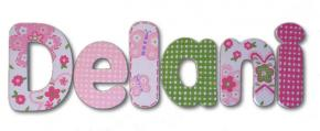 Pink & Green Daisy Dots Hand Painted Wall Letters Thumbnail