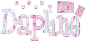 Daphne Dots in Pink & Green Hand Painted Wall Letters