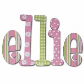 Pink and Green Daisy Dot Wood Wall Letters Thumbnail