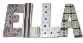 Ella's Pink, Green and Brown Hand Painted Wall Letters