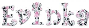 Pink, Black, and White Damask Wall Letters