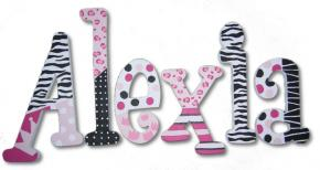 Pink Cheetah and Zebra Custom Painted Wall Letters